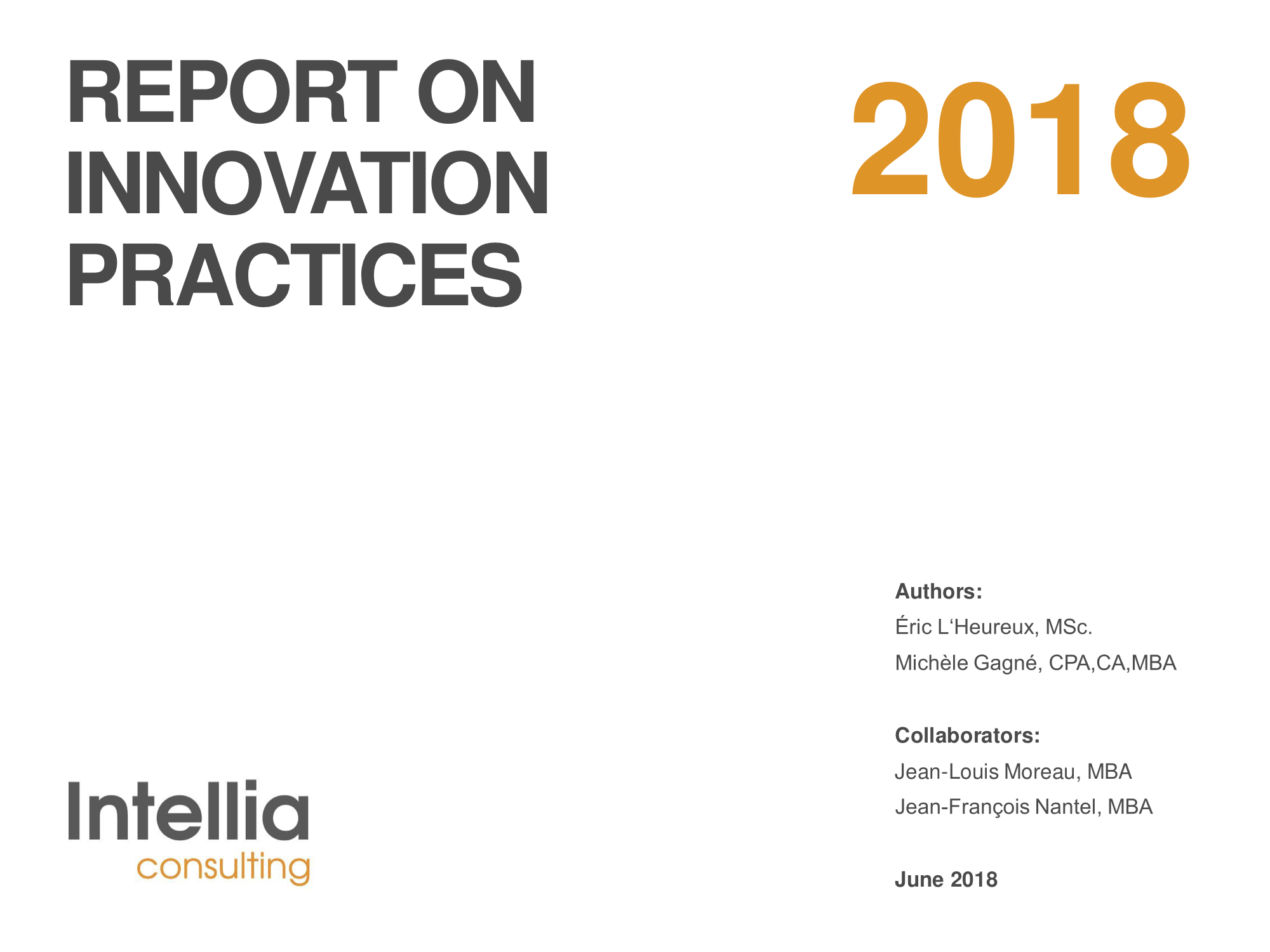 Report 2018 on innovation practices